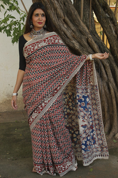 | Red Jig | Red and Black kalamkari cotton saree with border.