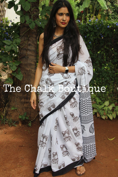 | Fun Monday| White with Black border Printed mul mul cotton saree.