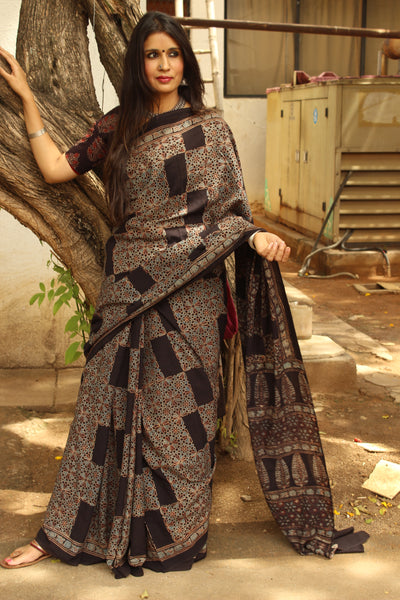 Black Handwoven vegetable dyed Ajrakh mul cotton saree .KCH-AJR11-C12