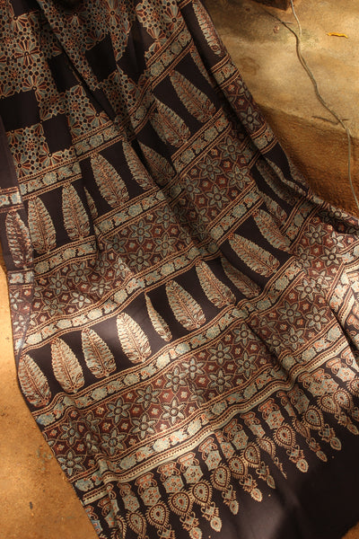Black Handwoven vegetable dyed Ajrakh mul cotton saree .KCH-AJR11-C12-The Chalk Boutique
