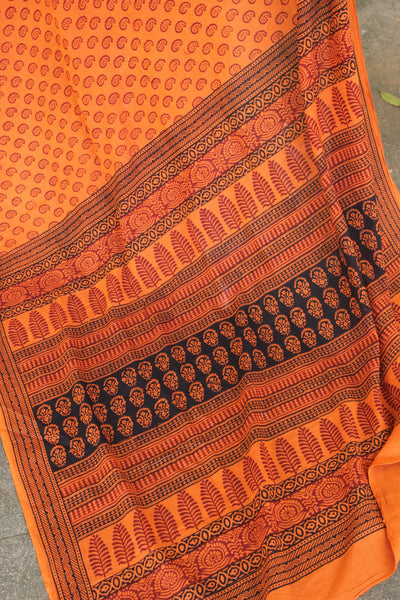 'Bagh' hand block printed saree in Cotton.