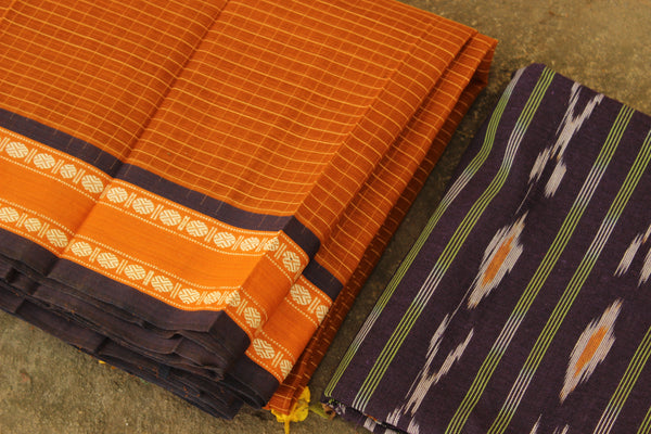 Maharashtra cotton checked saree. TCB-MH1-P4