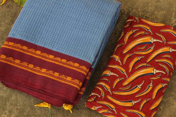 Maharashtra cotton checked saree. TCB-MH3-P4