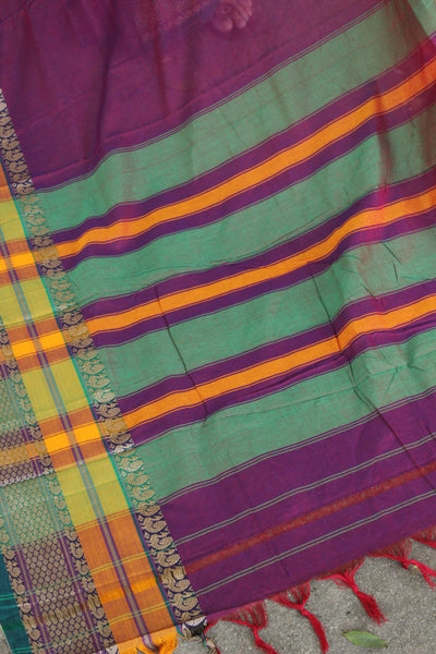 | Orchid Blooms | Purple Soft Cotton Saree With Contrast Broad Border.