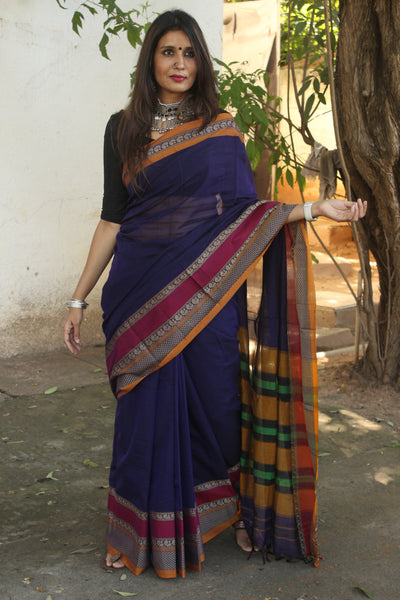 | Winters | Dark Blue Soft Cotton Saree With Contrast Broad Border.