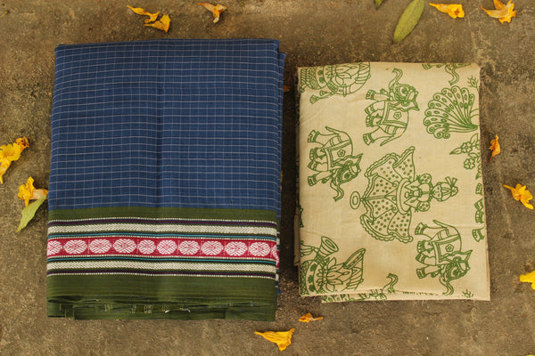 Maharashtra cotton checked saree. TCB-MH4-P4