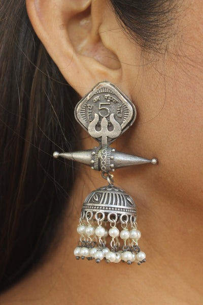 Sikka Trishul German Silver Earrings