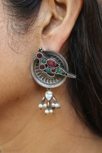 Chidiya Round German Silver Earrings