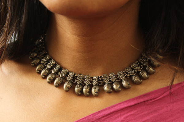 Adjustable Tie back choker in German silver. TCB-BIJ6-C1