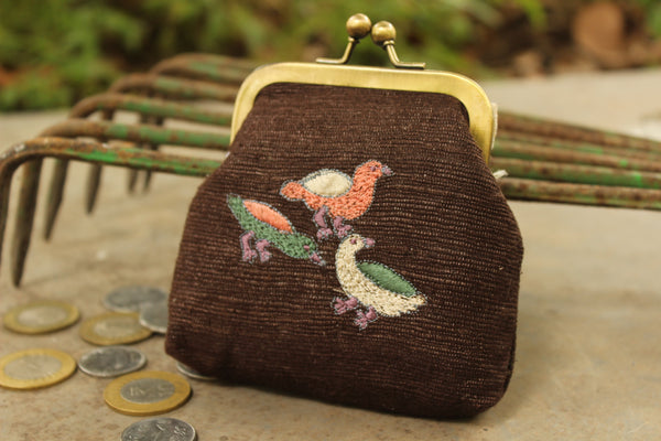 "Exquisite brown little coin purse ""Butuwa"" with colourful ducks  KS-BUTUWA-DU"