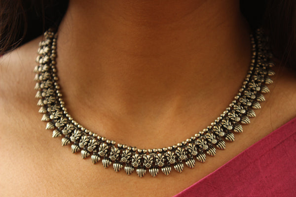 Adjustable Tie back choker in German silver. TCB-BIJ3-C1