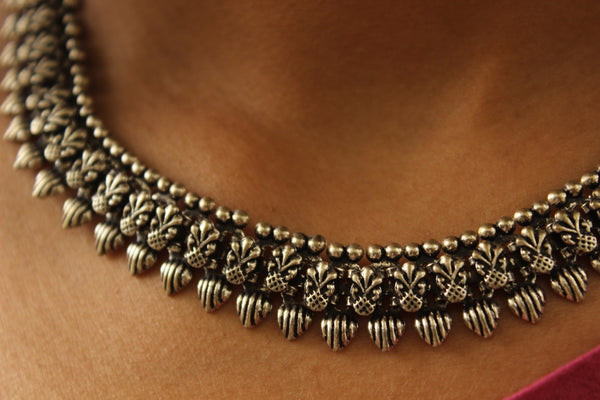 Adjustable Tie back choker in German silver.