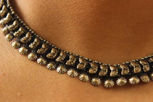 Adjustable Tie back choker in German silver. TCB-BIJ4-C1