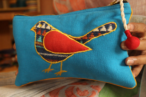 Sparrow embroidered flat zipper pouch in blue. KS-SPATEAL-28