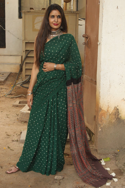 | Komal | Green vegetable dyed tie and dye ajrakh mul cotton saree