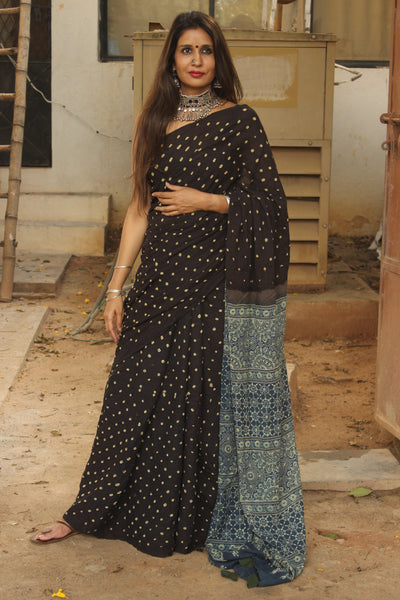 | Rajni | Black and Indigo vegetable dyed tie and dye ajrakh mul cotton saree