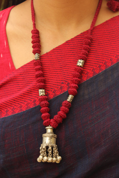 Red Lambani Tribal Adjustable ghunghroo pendant Necklace. TCB-GH3-BJ