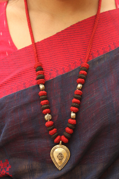 Red and black Lambani Tribal Adjustable pendant Necklace. TCB-PD4-BJ