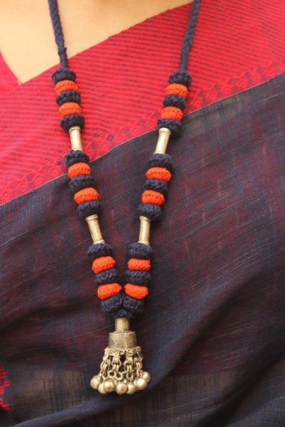 Blue and Orange Lambani Tribal Adjustable Ghunghroo pendant Necklace. TCB-GH7-BJ