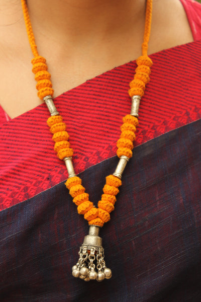 Yellow Lambani Tribal Adjustable Ghunghroo pendant Necklace. TCB-GH8-BJ