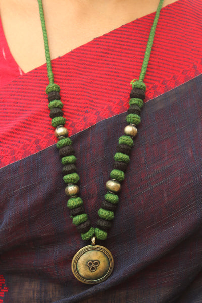Green and Black Lambani Tribal Adjustable pendant Necklace. TCB-PD6-BJ