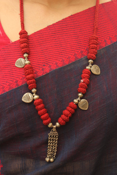 Red Lambani Tribal Adjustable pendant Necklace. TCB-FV1-BJ
