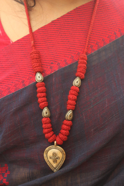 Red Lambani Tribal Adjustable Pendant Necklace. TCB-PD7-BJ