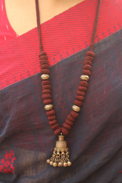 Maroon Lambani Tribal Adjustable Ghunghroo Pendant Necklace. TCB-GH11-BJ