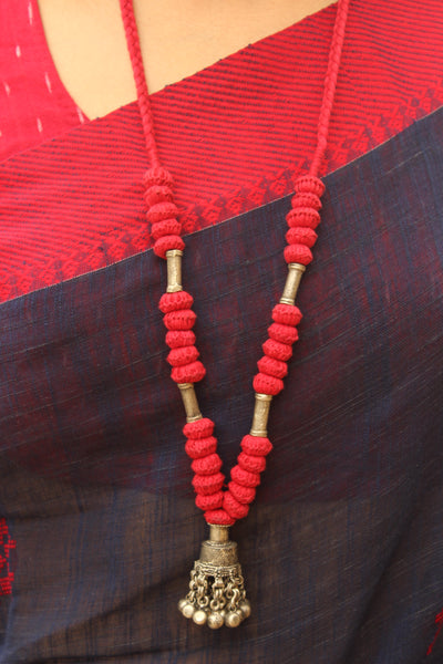 Red Lambani Tribal Adjustable Ghunghroo Pendant Necklace.TCB-GH13-BJ