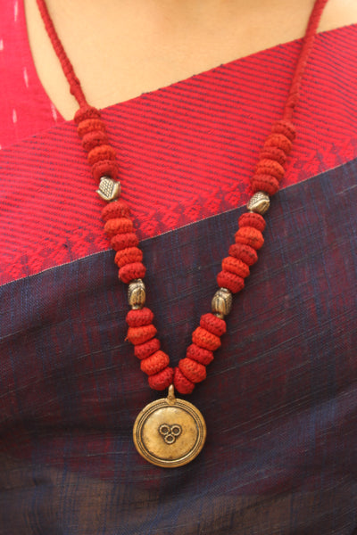 Red and Orange Lambani Tribal Adjustable Pendant Necklace.TCB-PD9-BJ
