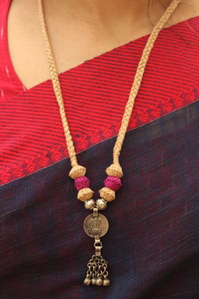 Beige and Pink Lambani Tribal Adjustable Pendant Necklace.TCB-LE2-BJ