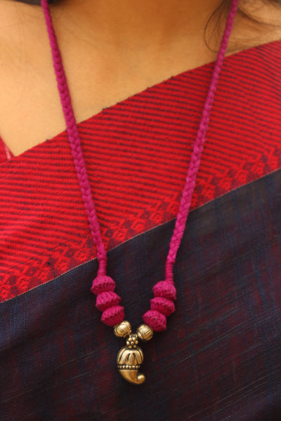 Purple-Pink Lambani Tribal Adjustable Pendant Necklace.TCB-LE5-BJ