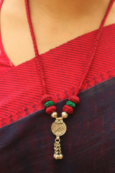 Red and Green Lambani Tribal Adjustable Pendant Necklace.TCB-LE9-BJ