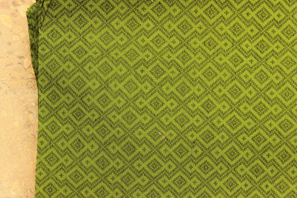 Green Overall buti Cotton jacquard Fabric.