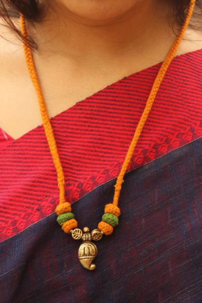 Mustard and Green Lambani Tribal Adjustable Pendant Necklace.TCB-LE10-BJ