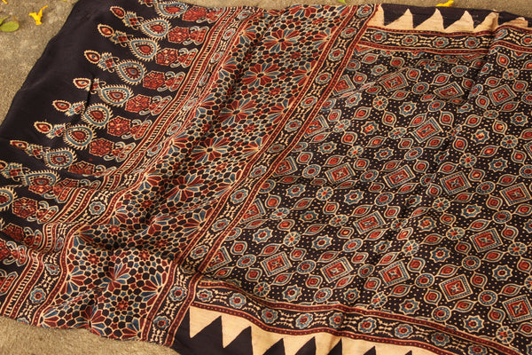 Black Modal silk vegetable dyed Ajrakh stole. KCH-STO2-C4