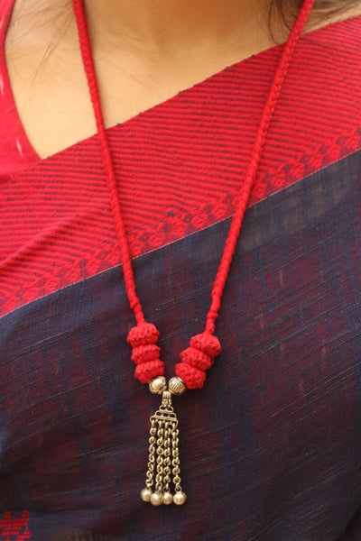 Red Lambani Tribal Adjustable Pendant Necklace.TCB-LE14-BJ