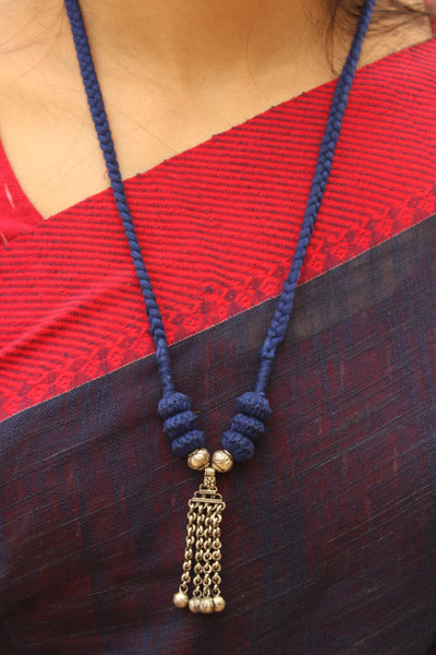 Blue Lambani Tribal Adjustable Pendant Necklace.TCB-LE15-BJ