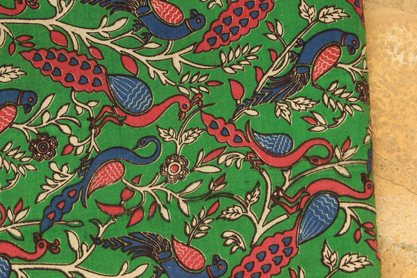 Green Peacocks Hand Block Printed Cotton Kalamkari Fabric.