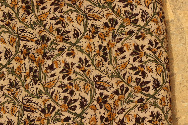 Beige Hand Block Printed Cotton Kalamkari Fabric.