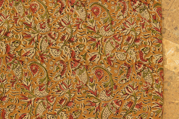 Mustard Fish Hand Block Printed Cotton Kalamkari Fabric.