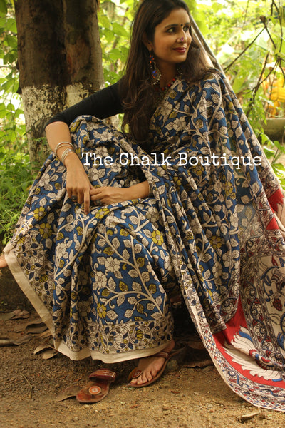 Hand Block Printed Cotton Kalamkari saree in Blue with Overall Flower print   TCB-COT-8
