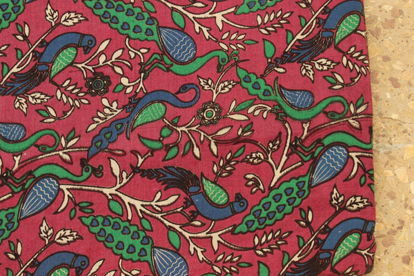 Pink Peacocks Hand Block Printed Cotton Kalamkari Fabric.