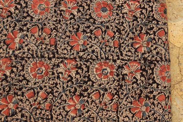 Floral Hand Block Printed Cotton Kalamkari Fabric.