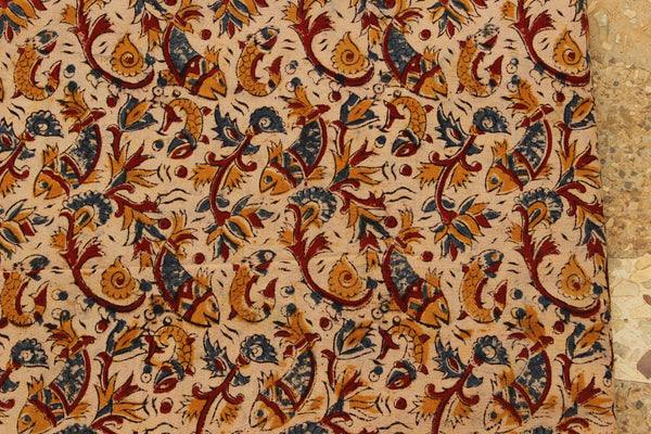 Beige Happy Fish Hand Block Printed Cotton Kalamkari Fabric.