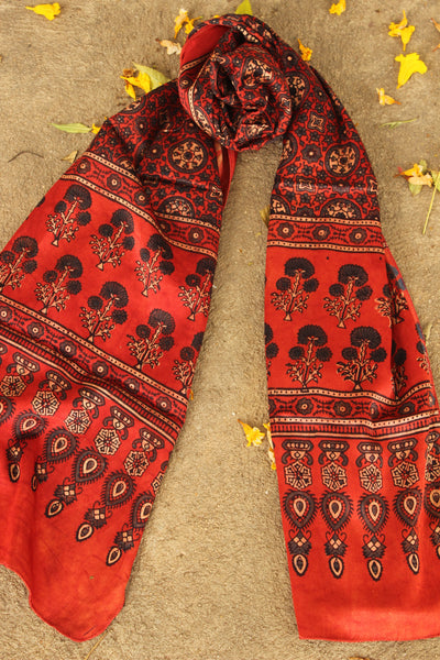 Madder Modal silk vegetable dyed Ajrakh stole. KCH-STO4-C4