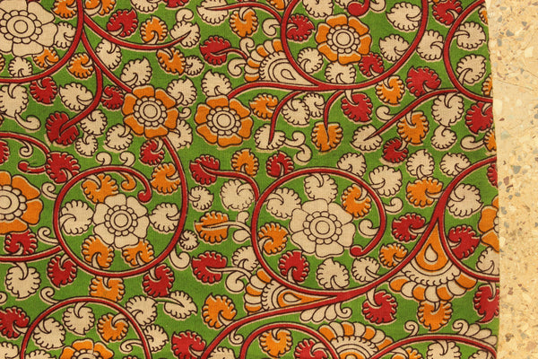 Green Floral Hand Block Printed Cotton Kalamkari Fabric.