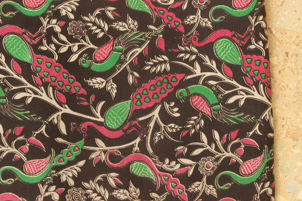Black Peacocks Hand Block Printed Cotton Kalamkari Fabric.