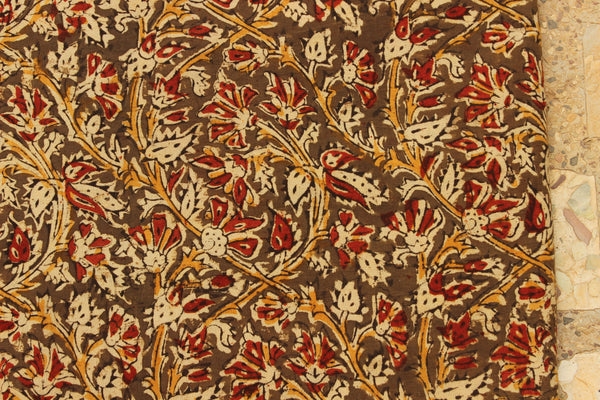 Olive Green Floral Hand Block Printed Cotton Kalamkari Fabric.