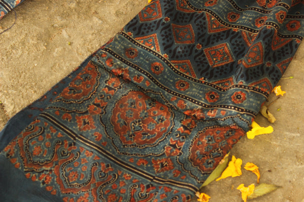 Indigo Modal silk vegetable dyed Ajrakh stole. KCH-STO6-C4